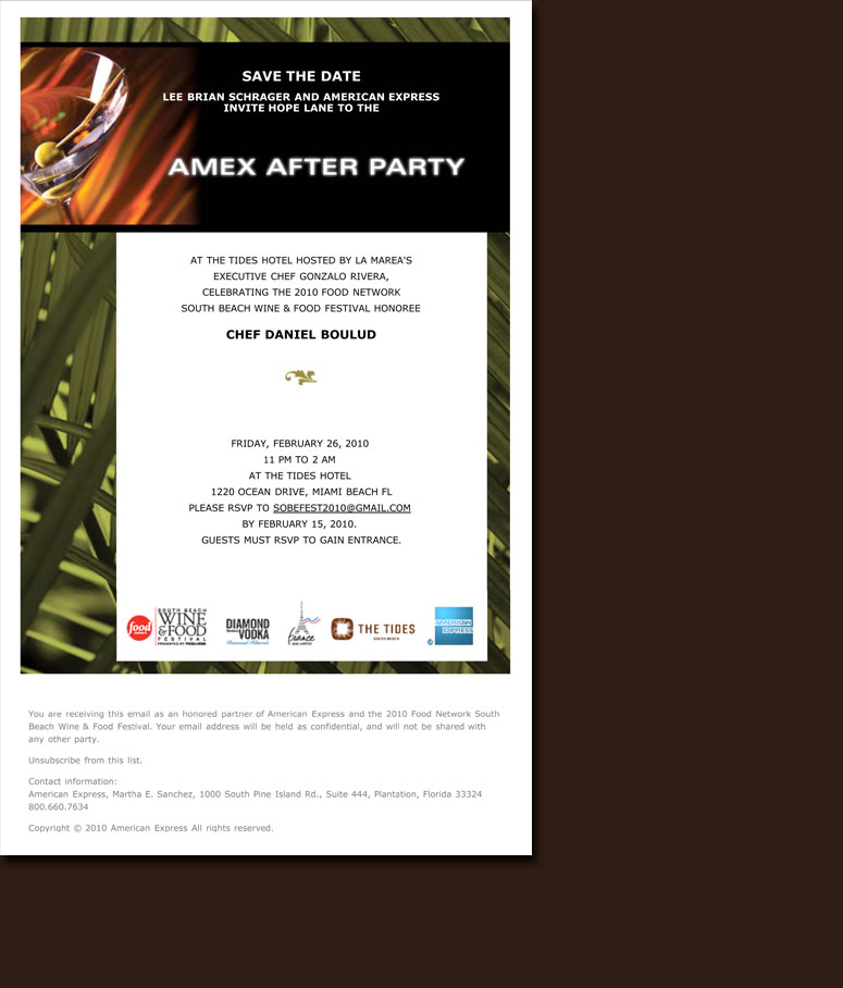 South Beach Wine and Food Email Invitation