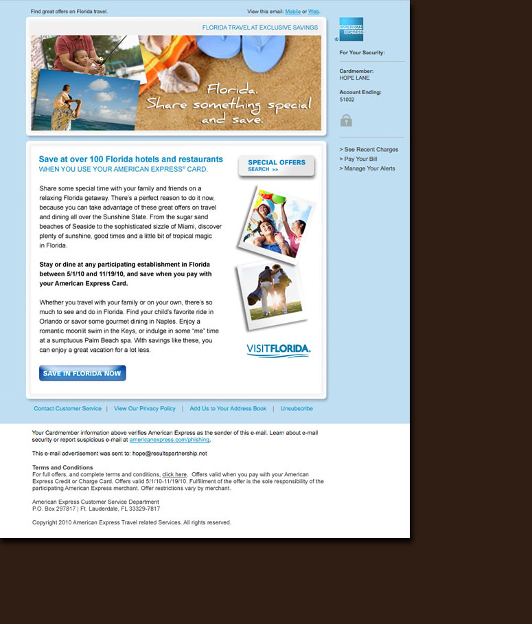 American Express Summer Travel email